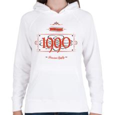 PRINTFASHION since-1990-red-black - Női kapucnis pulóver - Fehér