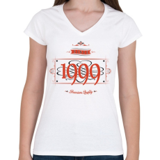 PRINTFASHION since-1999-red-black - Női V-nyakú póló - Fehér