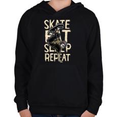 PRINTFASHION Skate Eat Sleep Repeat - Gyerek kapucnis pulóver - Fekete