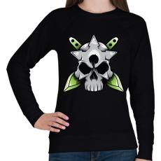 PRINTFASHION Skull and blade - Női pulóver - Fekete