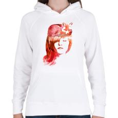 PRINTFASHION Sleep fox - Női kapucnis pulóver - Fehér