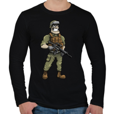 PRINTFASHION Soldier - Férfi hosszú ujjú póló - Fekete