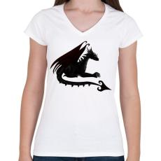 PRINTFASHION Sötét sárkány - Női V-nyakú póló - Fehér