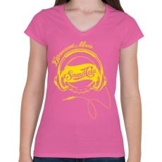 PRINTFASHION Sound Cola - Női V-nyakú póló - Rózsaszín