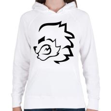 PRINTFASHION stencil oroszlán - Női kapucnis pulóver - Fehér
