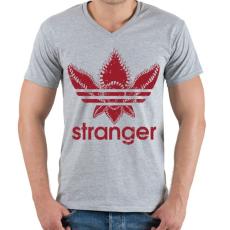 PRINTFASHION Stranger - Férfi V-nyakú póló - Sport szürke