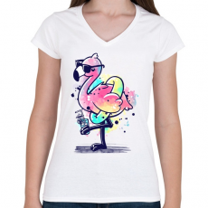 PRINTFASHION Summer Flamingo - Női V-nyakú póló - Fehér