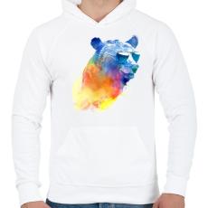 PRINTFASHION Sunny bear - Férfi kapucnis pulóver - Fehér