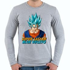 PRINTFASHION Super Saiyan Blue Vegito - Férfi hosszú ujjú póló - Sport szürke