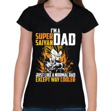 PRINTFASHION Super Saiyan Dad - Női V-nyakú póló - Fekete