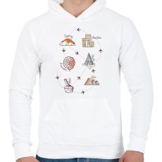 PRINTFASHION Sweet travel - Férfi kapucnis pulóver - Fehér