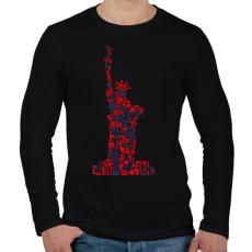 PRINTFASHION Szabadság - Férfi hosszú ujjú póló - Fekete