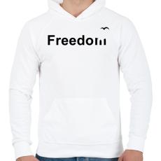 PRINTFASHION Szabadság - Férfi kapucnis pulóver - Fehér