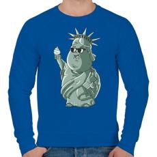 PRINTFASHION Szabadság-szobor - Férfi pulóver - Királykék