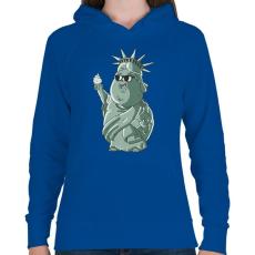 PRINTFASHION Szabadság-szobor - Női kapucnis pulóver - Királykék