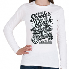 PRINTFASHION Száguldás a tengerparton - Női hosszú ujjú póló - Fehér