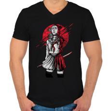 PRINTFASHION Szamuráj lány - Férfi V-nyakú póló - Fekete