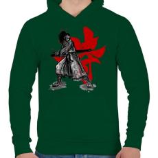 PRINTFASHION Szamuráj szellem - Férfi kapucnis pulóver - Sötétzöld