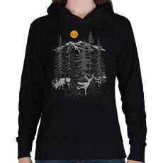 PRINTFASHION Szarvasok - Női kapucnis pulóver - Fekete