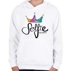 PRINTFASHION Szelfi királynő - Gyerek kapucnis pulóver - Fehér