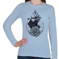 PRINTFASHION Szent szarvas  - Női hosszú ujjú póló - Világoskék