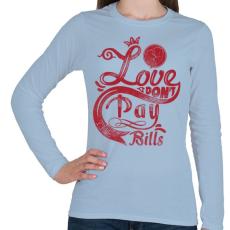 PRINTFASHION Szerelem számlára - Női hosszú ujjú póló - Világoskék