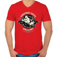 PRINTFASHION Szerelő szolgálatban - Férfi V-nyakú póló - Piros