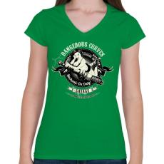 PRINTFASHION Szerelő szolgálatban - Női V-nyakú póló - Zöld