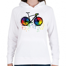 PRINTFASHION Színes bicikli - Női kapucnis pulóver - Fehér