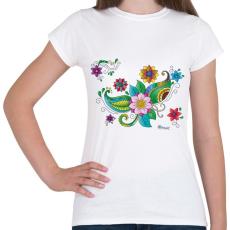 PRINTFASHION Színes hennaminta - Női póló - Fehér