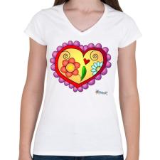 PRINTFASHION Sziv5 - Női V-nyakú póló - Fehér női póló