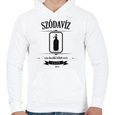 PRINTFASHION szodaviz-black-white - Férfi kapucnis pulóver - Fehér