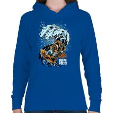 PRINTFASHION Szörfmánia - Női kapucnis pulóver - Királykék