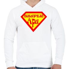 PRINTFASHION Szuperapu - Férfi kapucnis pulóver - Fehér