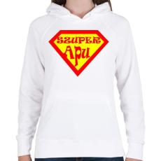 PRINTFASHION Szuperapu - Női kapucnis pulóver - Fehér