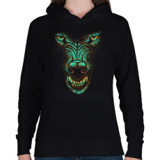PRINTFASHION Szürkefarkas - Női kapucnis pulóver - Fekete