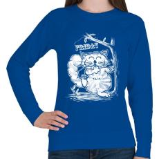 PRINTFASHION T.G.I.F. Cat - Női pulóver - Királykék