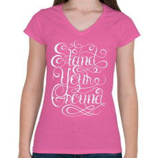PRINTFASHION Talpon maradni - Női V-nyakú póló - Rózsaszín
