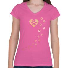 PRINTFASHION Tappancsok - Női V-nyakú póló - Rózsaszín