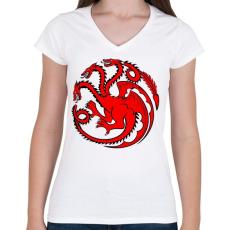 PRINTFASHION Targaryen címer - Női V-nyakú póló - Fehér