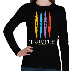 PRINTFASHION Teknős erő - Női hosszú ujjú póló - Fekete