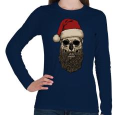 PRINTFASHION Télapó szakálla - Női hosszú ujjú póló - Sötétkék