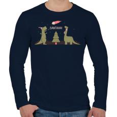 PRINTFASHION Télapóóó - Férfi hosszú ujjú póló - Sötétkék