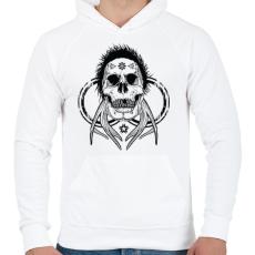 PRINTFASHION Tetkó koponya - Férfi kapucnis pulóver - Fehér