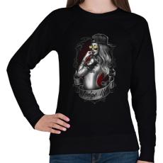 PRINTFASHION Tetovált lány - Női pulóver - Fekete