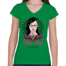 PRINTFASHION Tetovált lány - Női V-nyakú póló - Zöld