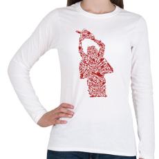 PRINTFASHION Texasi láncfűrészes - Női hosszú ujjú póló - Fehér