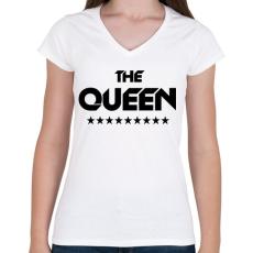 PRINTFASHION The Queen - Női V-nyakú póló - Fehér