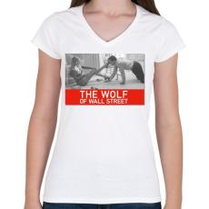 PRINTFASHION The wolf of wall street  - Női V-nyakú póló - Fehér