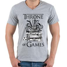 PRINTFASHION Throne of Games - Férfi V-nyakú póló - Sport szürke